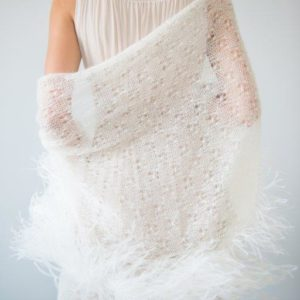SHAWL LACE WITH OSTRICH FEATHER TRIM